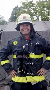 Patrick Boos in Feuerwehrmontur