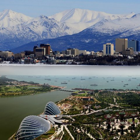 Anchorage und Singapur