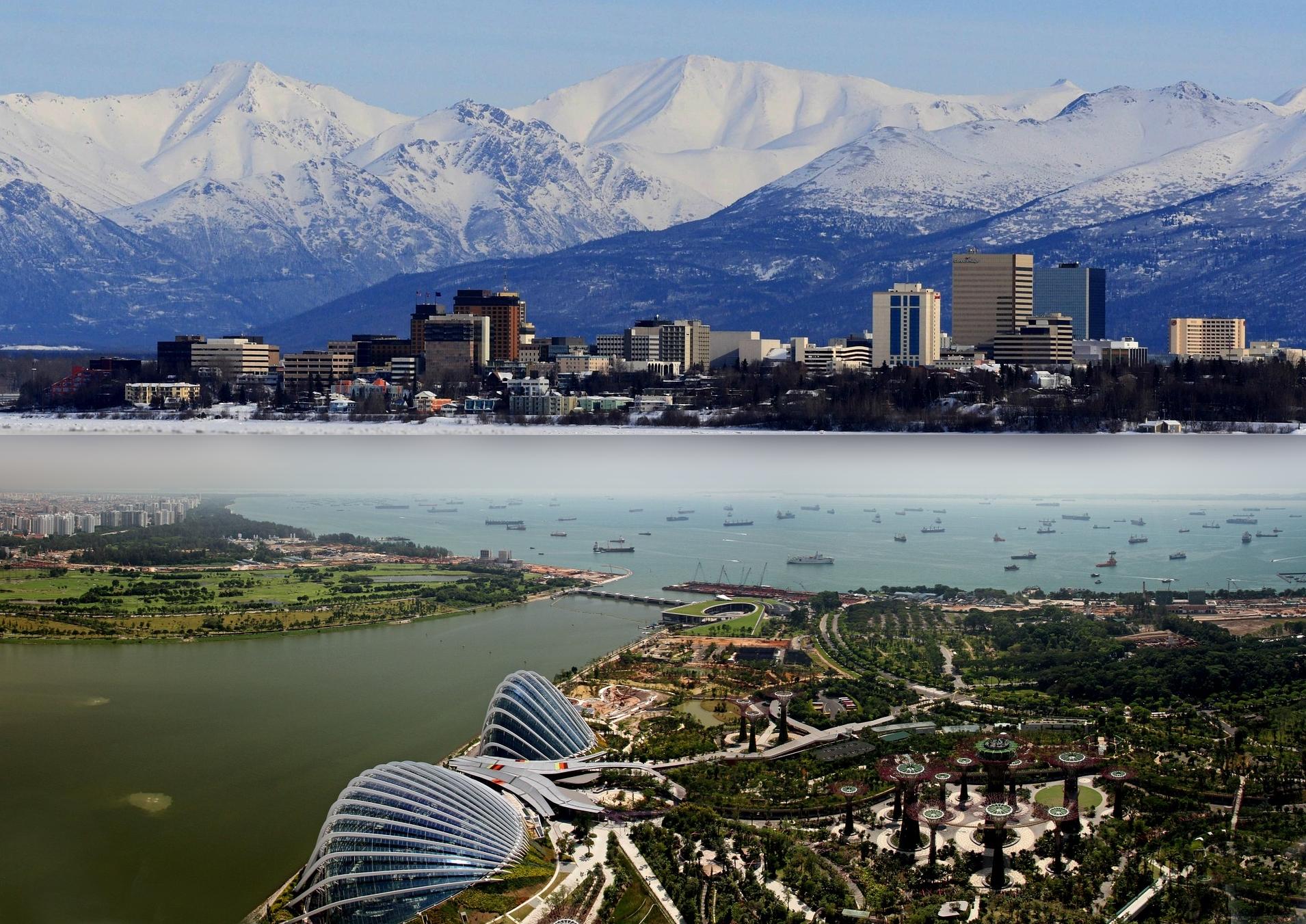 Anchorage und Singapur