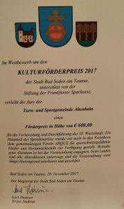 Urkunde zum Kulturförderpreis 2017