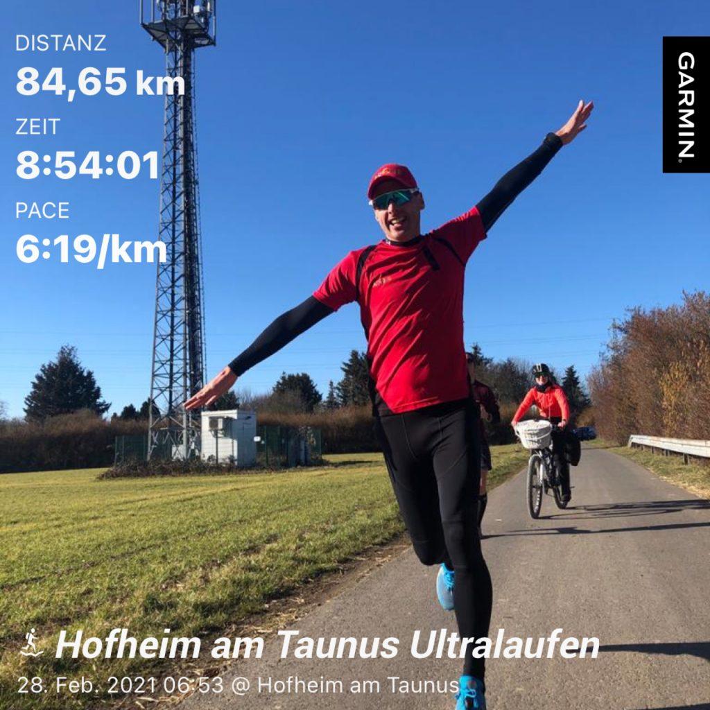 Titelbild Nik mit seiner Gesamtzeit 8:54:01, Pace 6:19/km; 84,65 km